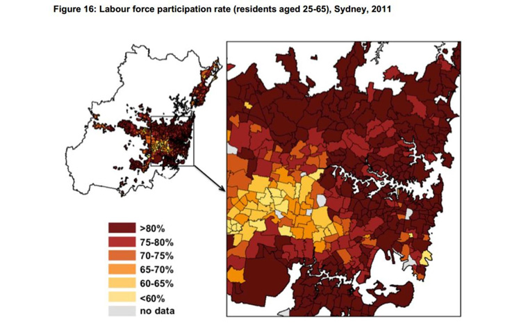 There is a visible different in labour force participation in Sydney, depending on where you live. Grattan Institute, Who lives where: Sydney Productive Cities: Supplementary Maps, May 2013, CC BY