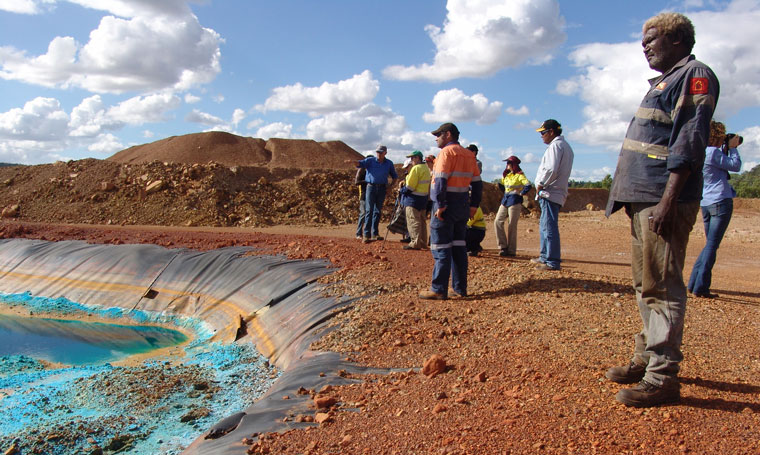 Donald Shadforth, a traditional owner, at the dilapidated Redbank mine tailings storage. Image: P Taplin.