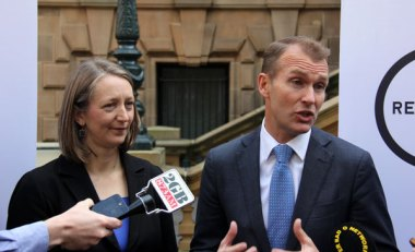 Sydney chief resilience officer Beck Dawson with NSW planning minister Rob Stokes.