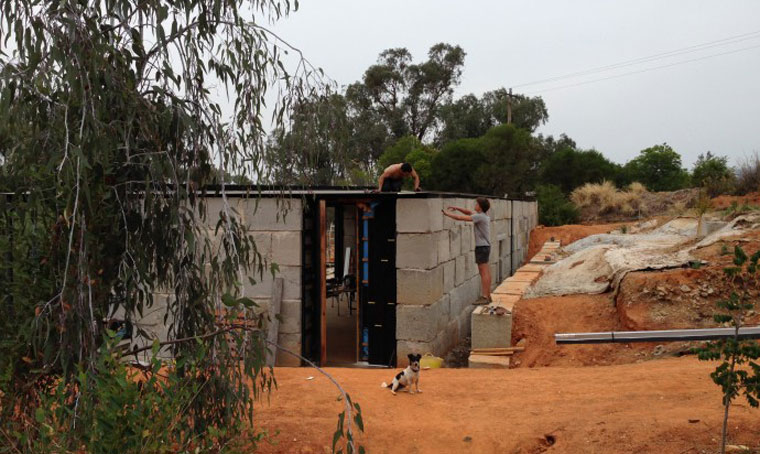 Concrete corner: the house begins to take shape during the build process. Photo courtesy Archier.