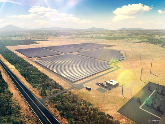 Artist's impression of the Lakeland solar and storage plant in Queensland.