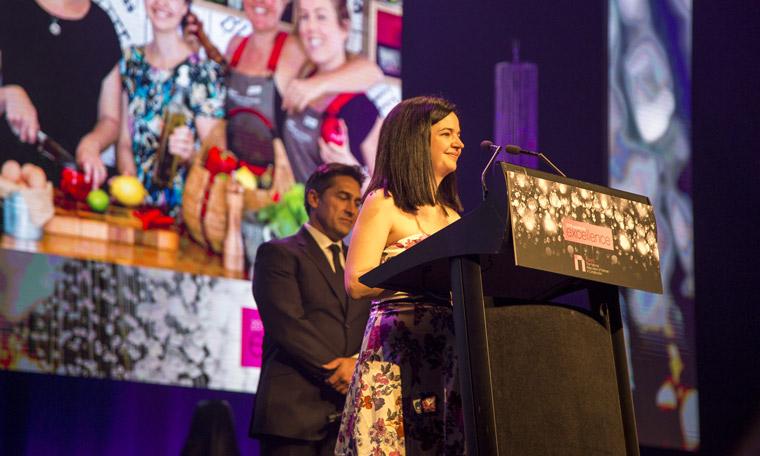 Stockland's Davina Rooney accepting the sustainability award.