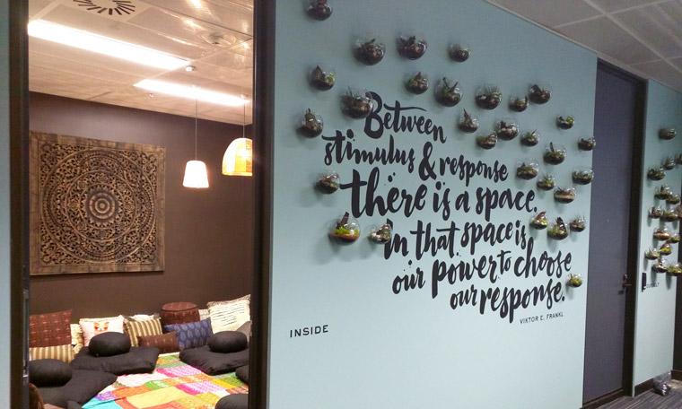 Google's meditation wall. Image: Siren Design