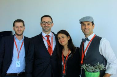 The Magnetite team won most points for best Mad Men attire: (lL to R) Richard Hamber; AWA and WERS; Ian Harkin, Magnetite; Dr Aila Khan WSU Marketing; Adrian Lafleur MD Magnetite and overall winner
