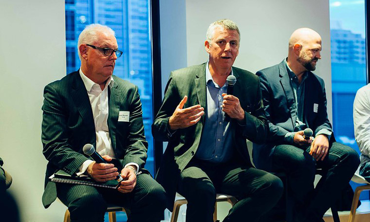 David McFadyen (centre), ISPT with Garry McLean, PPB Advisory (left) and Jason Twill, UTS and Urban Apostles (right).
