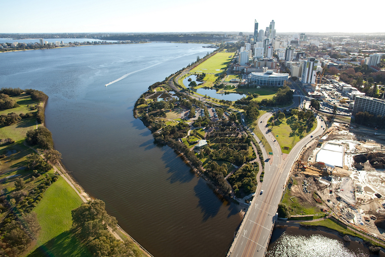 ariel shot of Perth