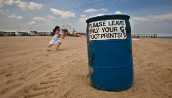 only leave footprint bin beach