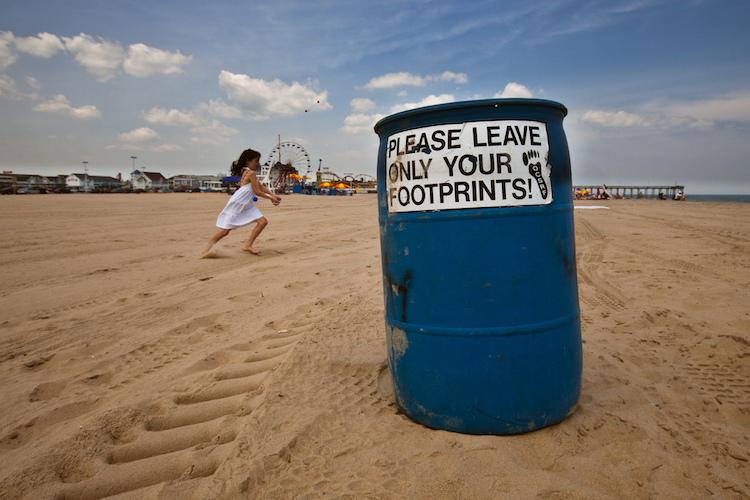 only leave footprint bin beach