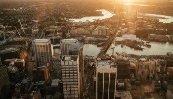 Sydney aerial shot sunset