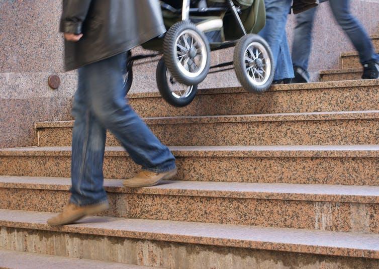 pram on stairs