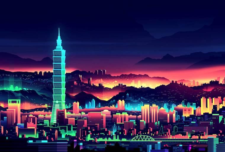 neon city illustration hydrogen