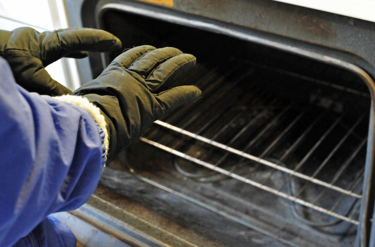 warming hands with oven rental house