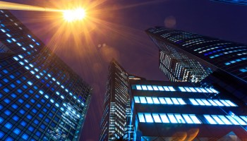 Illuminated office buildings Night lights