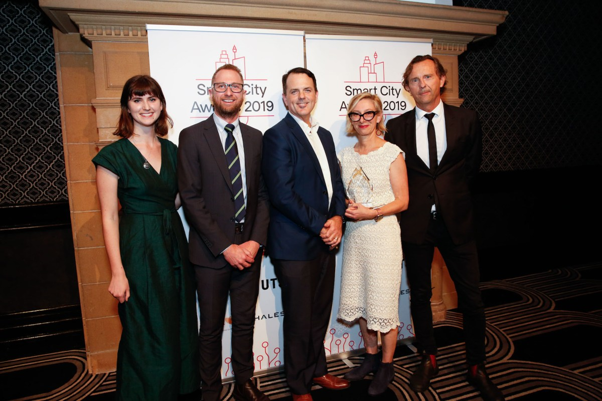 Photograph of the Overall Best Smart City Project, Resilient Sydney Platform at the Committee for Sydney's City Smart Awards 2019