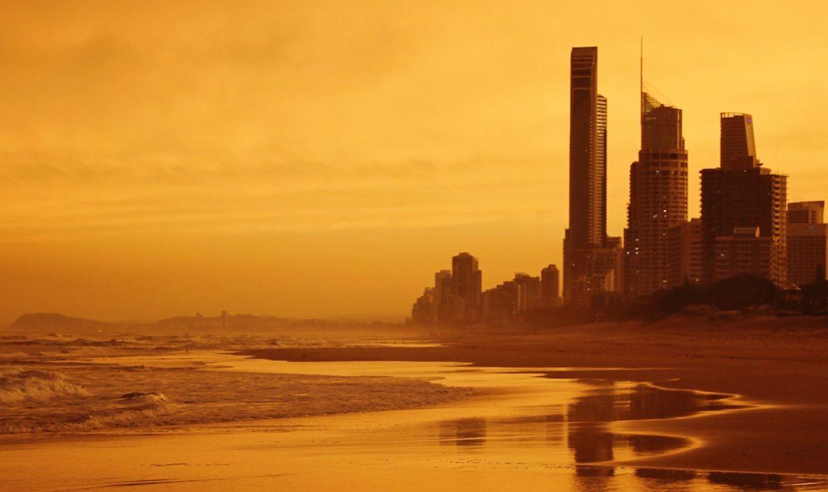 Gold coast beach builidings at dawn