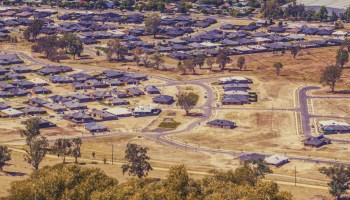 Panoramic landscape of suburban houses in rural neighbourhood in Australia