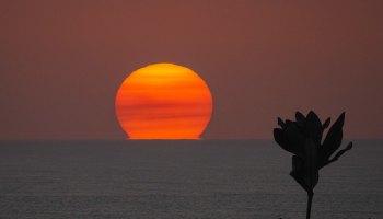 sunset over water australia smoke