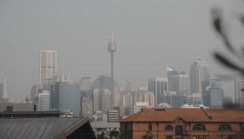 sydney skyline in smoke