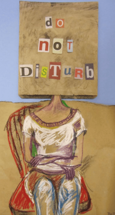 artwork of a woman with paper bag over her head saying do not disturb