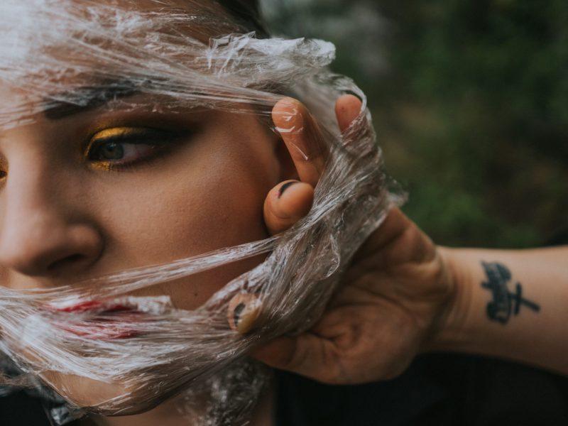plastic on girls face