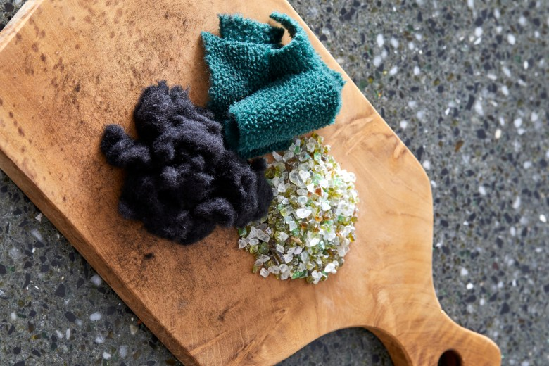 ceramics made out of waste glass, plastic and textiles
