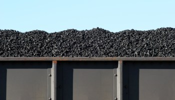 coal in train boxcar awaiting transport