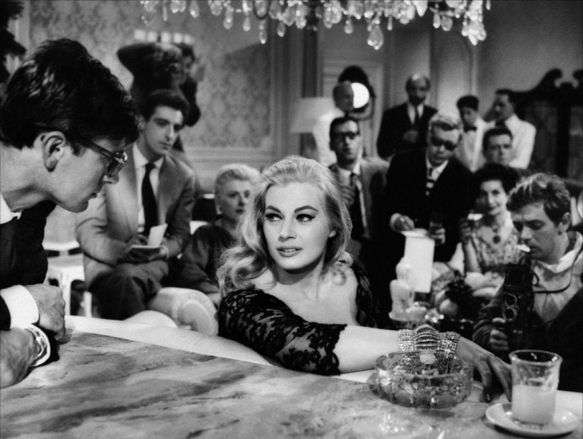 Anita Ekberg and Marcello Mastroianni in a scene from Fellini's La Dolce Vita.