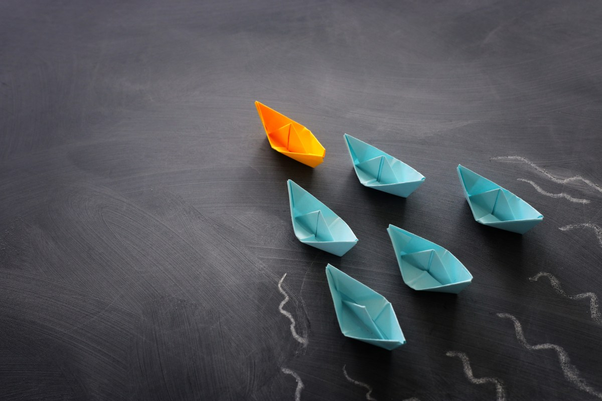 Leadership banner concept with paper boat on blackboard background. One leader ship leads others