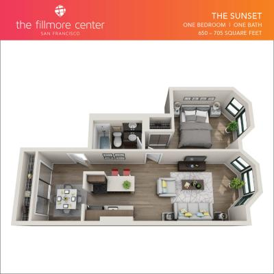 The Sunset 1 bedroom floor plan diagram