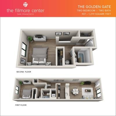 The Golden Gate 2 bedroom floor plan diagram
