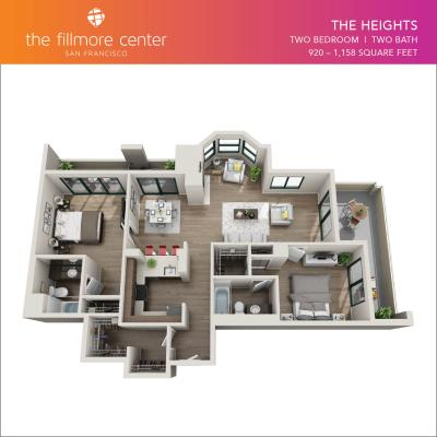 The Heights 2 bedroom floor plan diagram