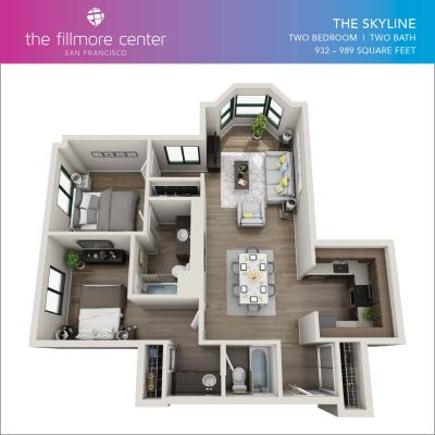 The Skyline 2 bedroom floor plan diagram