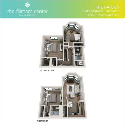 The Garden 3 bedroom floor plan diagram