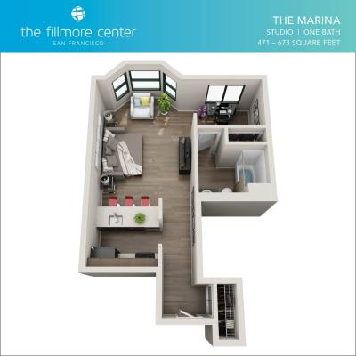 The Marina studio floor plan diagram