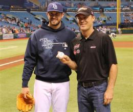 Evan Longoria and Harvick first pitch