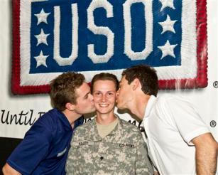 Joey Logano and Ricky Stenhouse Jr. Kiss U. S. Army Specialist Katherine Kelley USO Visit Kuwait