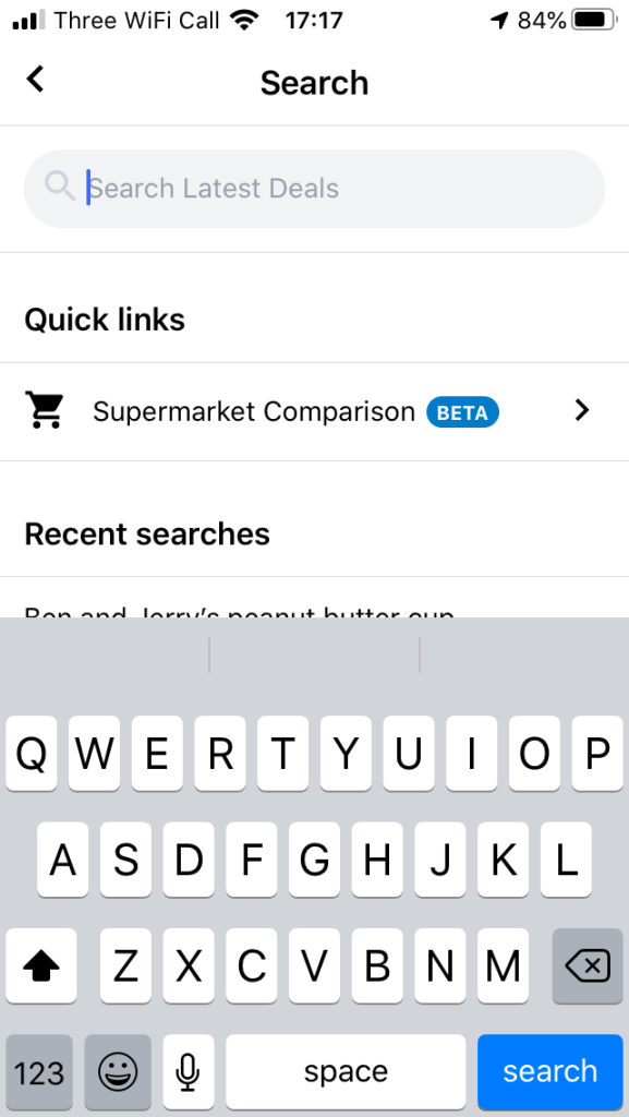 Illustrating how to get the Supermarket Comparison search on Latest Deals