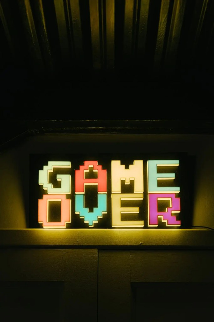 Game over text, if on the wrong side of Gamestop