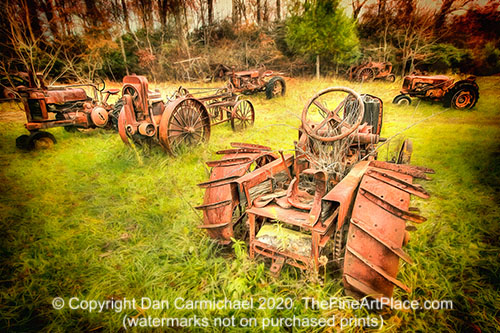 Old rusty tractors farm equipment from the past