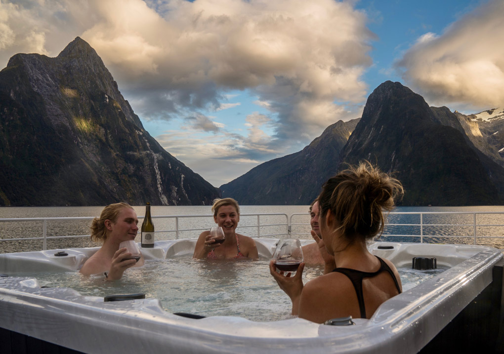 hot tub on Milford Sound, small ship cruising Milford Sound, Fiordland Jewel, New Zealand, Helen Hayes