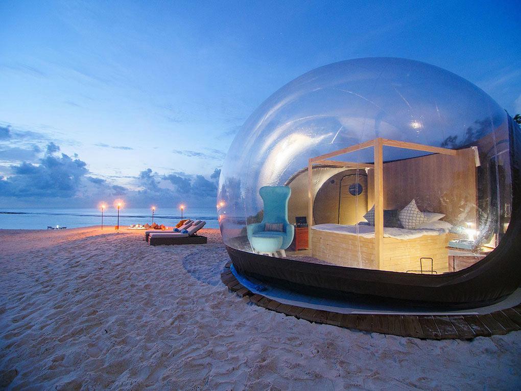 Finolhu, bubble tent, The Maldives