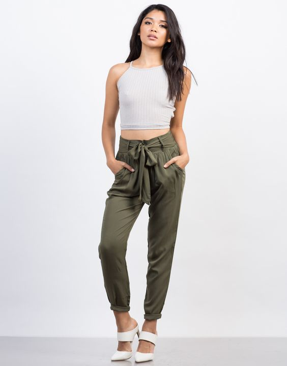 High Waist tie up pant and top for women. Casual Womens Fashion and Womens Cool Trending Clothes, Dresses. #womensfashion #womensdress #summeroutfit #casualoutfit