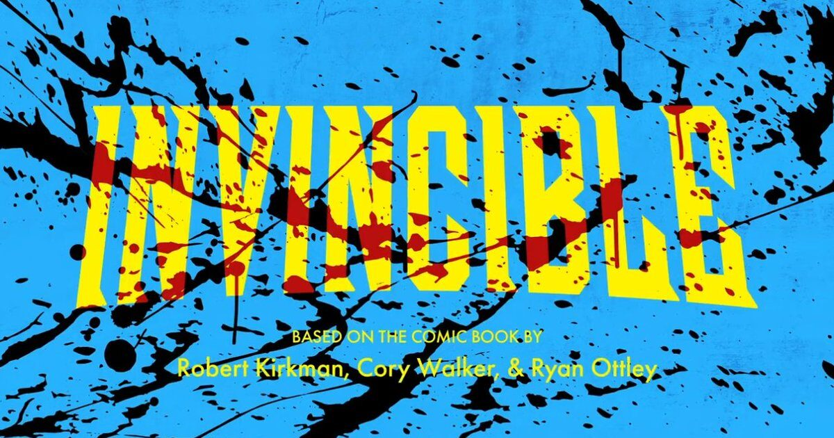 Bright yellow text saying 'Invincible' on a bright blue background, the whole thing spattered with blood.