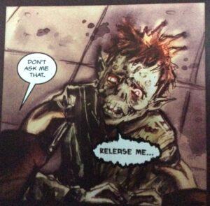 Monstrous but vulnerable child. Text: 'Release me...' 'Don't ask me that.'