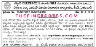 Telangana DEECET 2018 Notification Released at @deecet.cdse.telangana.gov.in