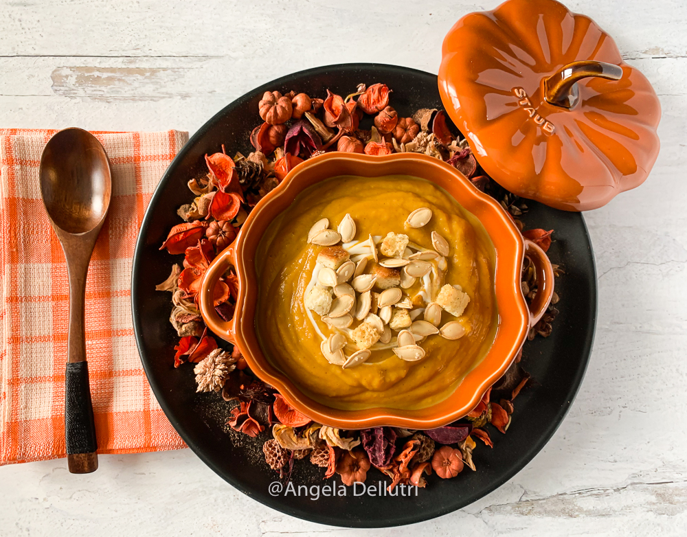 Roasted Butternut Squash, Pumpkin and Apple Soup
