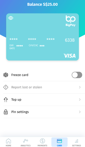 BigPay Freeze Card