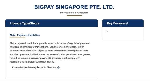BigPay Singapore MAS