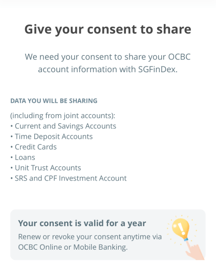 SGFinDex OCBC Consent To Share 1 Year