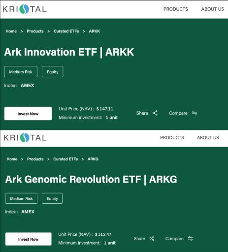 ARKK vs ARKG Kristal AI